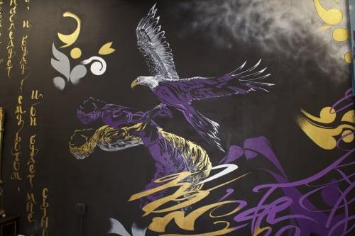 Murals by Oscar Lett seen at First Class Tattoo, New York - First Class Tattoo