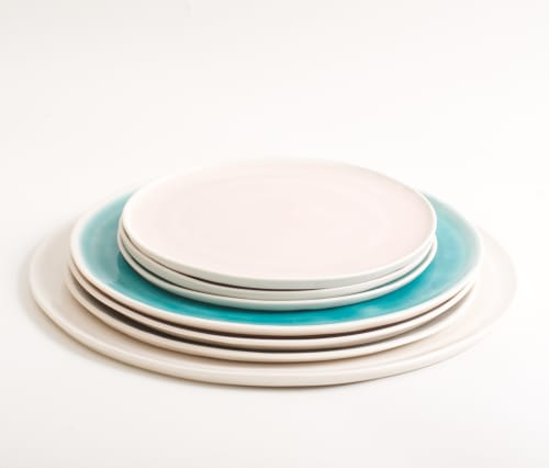 Ceramic Plates by Linda Bloomfield seen at Leafwild Cafe, London - Handmade Plate - Turquoise