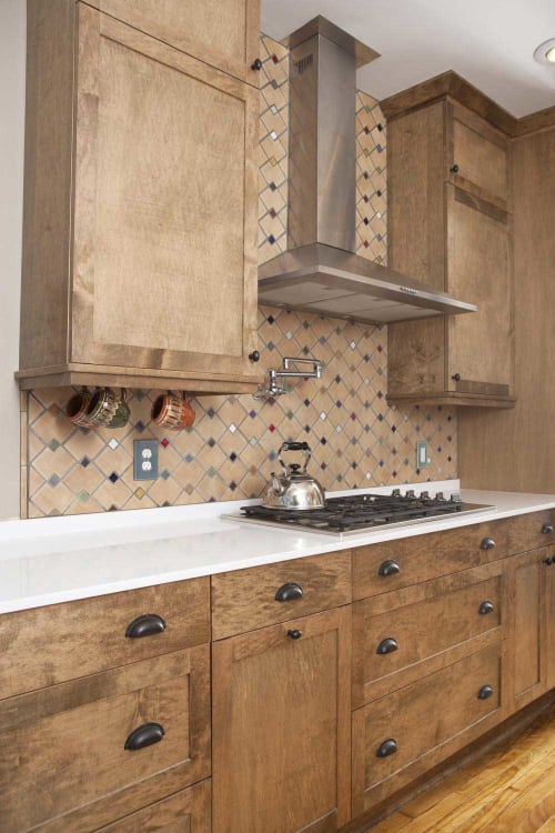 Tiles by Clay Squared to Infinity seen at Private Residence, Saint Paul - Zig Zag with 1″ Mosaic Kitchen