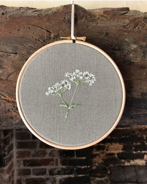 Wall Hangings by Sarah Becvar Deisgn seen at Private Residence - Cow Parsley Embroidered Hoop
