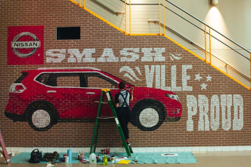 Murals by Finer Signs seen at Bridgestone Arena, Nashville - Nissan Rogue-Smashville Proud