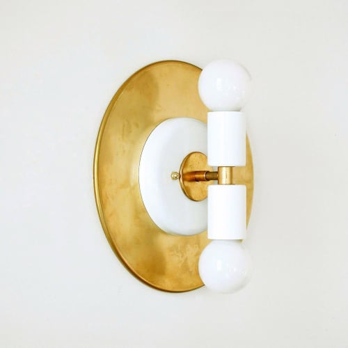 Sconces by DLdesignworks LLC seen at Private Residence, San Francisco - Modern double white and brass wall sconce light