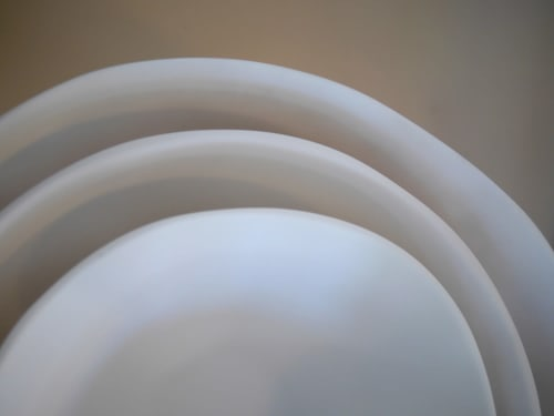 Tableware by Tina Frey seen at Wescover Gallery at West Coast Craft SF 2019, San Francisco - Large Marcus Bowl, Medium Zoe Bowl and Medium Marlis Bowl