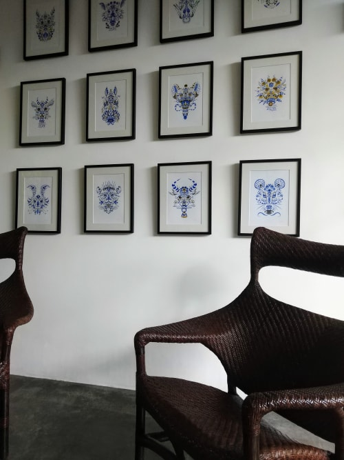 Wall Hangings by Shann Larsson seen at Private Residence - Blue & White Zodiac Series
