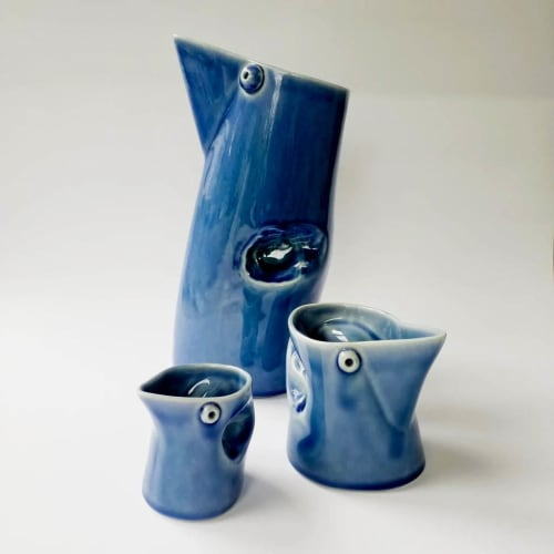 Vases & Vessels by Steiner Ceramics seen at Creative & Brave Newmarket- Formerly Texan Art Schools, Auckland - Bob Steiner's iconic contemporary squeeze jugs get a cute re-boot for our endangerd birds promotion...