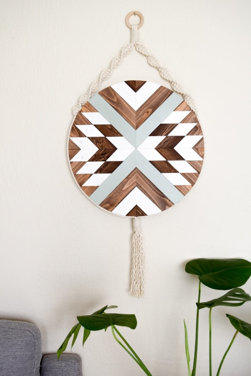 Macrame Wall Hanging by Roaming Roots seen at Private Residence, Spokane - Solana - Round Macrame Wood Wall Art Hanging
