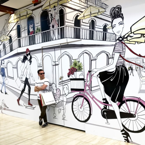 Murals by Aaron Favaloro seen at Westfield, Sydney - Vinyl Wall Mural
