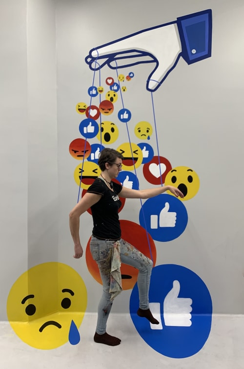 Murals by Lindsey Millikan (Milli) seen at Museum of Illusions, Los Angeles - Facebook Manipulation Mural