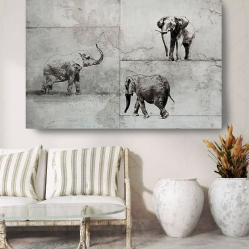Paintings by Irena Orlov seen at Private Residence, Los Angeles - Rustic Elephants
