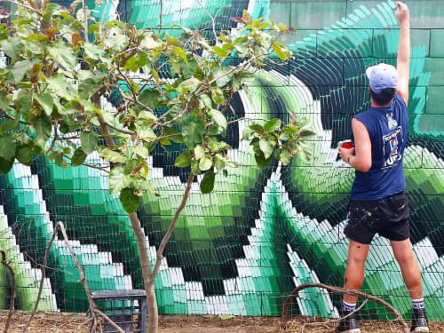 Murals by LUCAS GROGAN seen at Private Residence, Adelaide - EMBROIDERED GARDEN