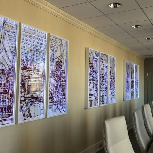 Art & Wall Decor by Maria Schneider Arte seen at Raynes Lawn Hehmeyer, Philadelphia - Invisible Cities - Three Triptychs