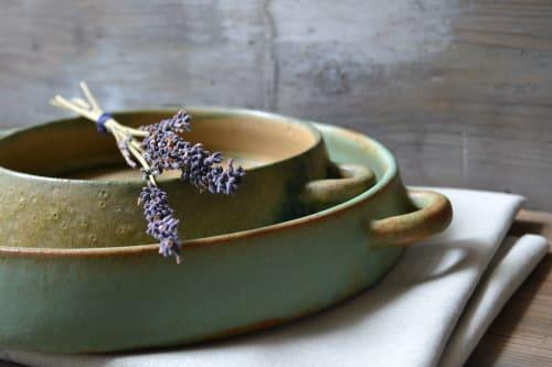 Ceramic Plates by Homatino ceramics seen at Rocabella Mykonos Art Hotel & SPA, Agios Stefanos - Green dinner plate