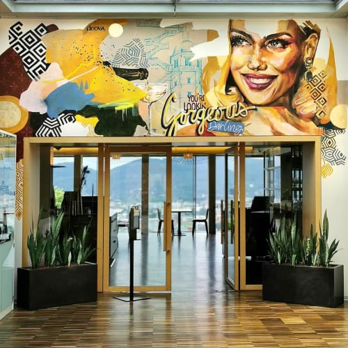 """Murals by Carola Deutsch seen at Restaurant SCHLOSSBERG, Graz - """"You're Looking Gorgeous Darling!"""""""