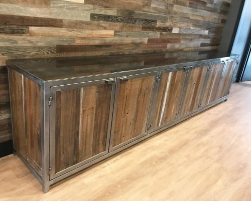 Furniture by Cannonball Metal Works seen at C.R. Gibbs American Grille, Redding - Rustic Cabinet