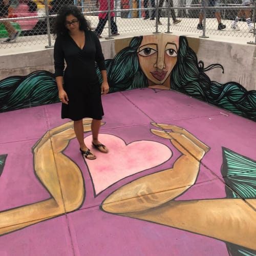 Street Murals by Alice Mizrachi seen at World Trade Center, New York - Don't Forget To Fall In Love With Yourself First