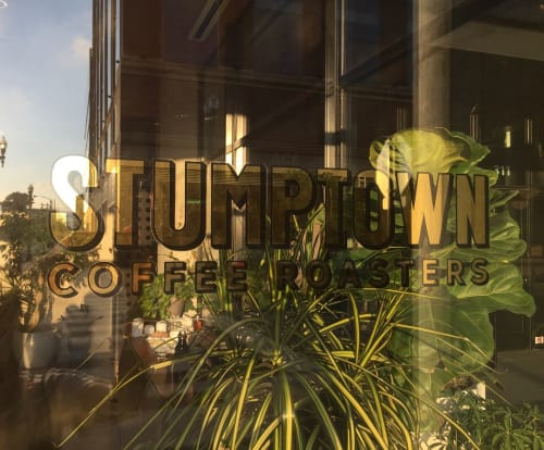 Signage by Finer Signs seen at Stumptown Coffee Roasters, Chicago, IL, Chicago - Stumptown Cafe Signage