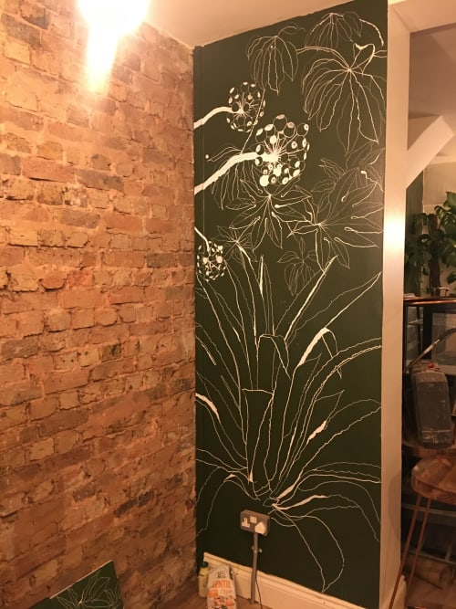 Murals by Living Wall Murals seen at Down To Earth Coffee, Hove - Linear botanical mural