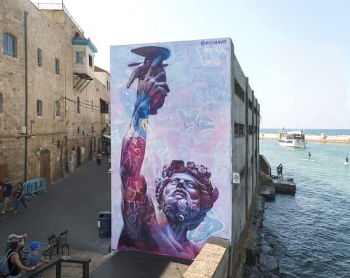 Art Curation by PichiAvo seen at Jaffa, Tel Aviv-Yafo - Wall in Jaffa (Tel Aviv), Israel