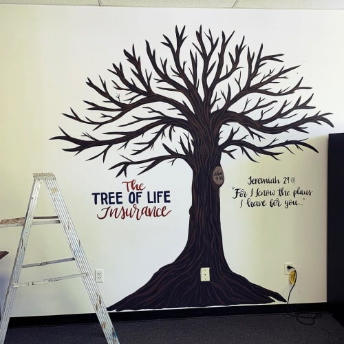 Murals by Fresh Prints of Belaire seen at Farmers Insurance - Kevin Cavazos, Humble - The Tree of Life Insurance