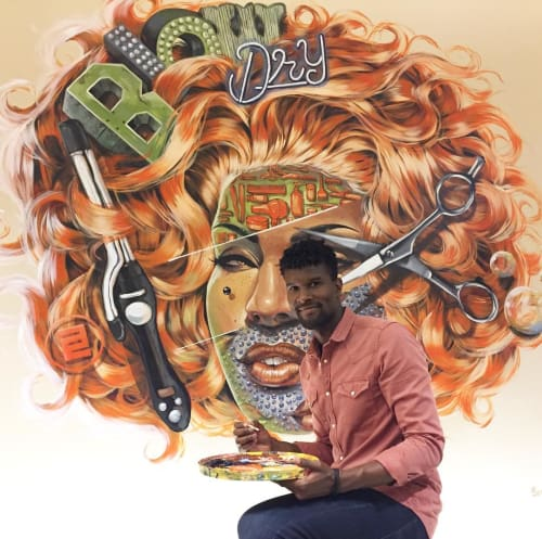 Murals by Serge Gay Jr. seen at Atelier Emmanuel Salon, San Francisco - Blow Dry