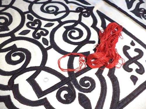 "Pillows by APPLIQUE ARTISTRY seen at 2901 Broadway, San Francisco - ""Consuelo"""
