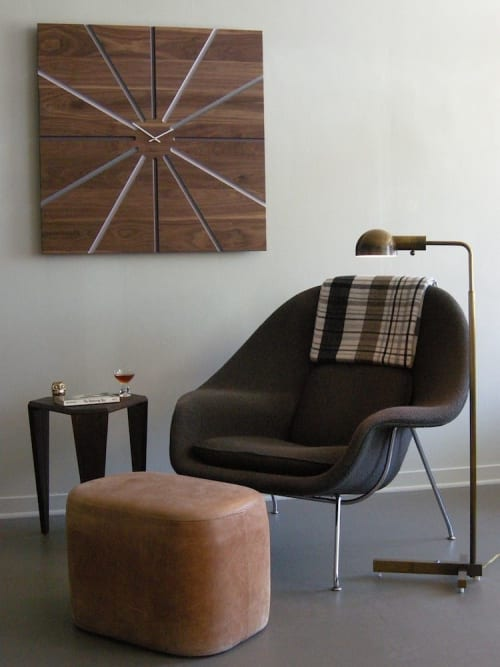 Furniture by Jason Lees Design seen at Oakland, Oakland - Custom Wall Clock, Leather Ottoman, and Side Table