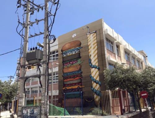 Street Murals by Mrfjodor aka Fjodor Benzo seen at Starttech Ventures, Athina - The XXXL Panta Burger