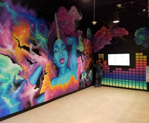 "Murals by A.O. Hamer seen at Amazon 9th & Thomas Building, Seattle - ""Cosmic Queen"""