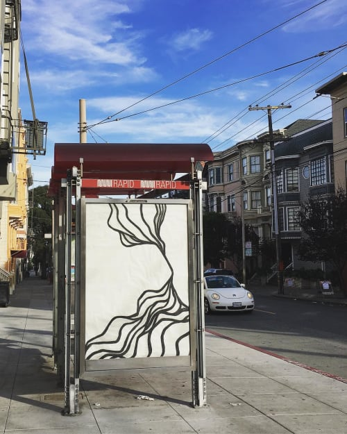 Murals by Strider Patton seen at Divisadero St & Mcallister St, San Francisco - Outdoor Mural