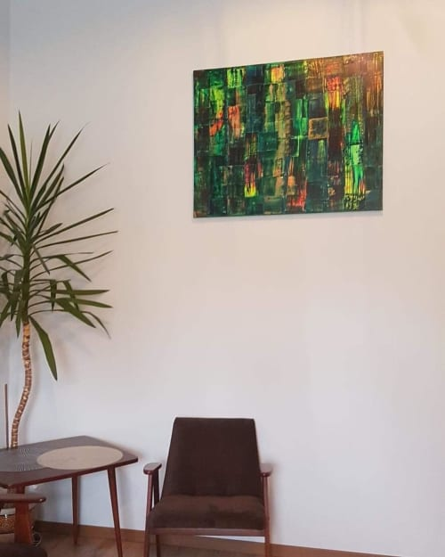 Paintings by Martyna Orzechowska seen at Lubawa, Lubawa - Green Abstract Painting