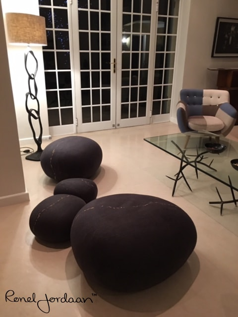 Benches & Ottomans by Ronel Jordaan at Private Home, Cape Town, South Africa, Cape Town - Goldminers Rock Cushions