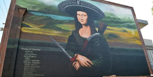 Street Murals by Levi Ponce seen at Van Nuys Boulevard, Los Angeles - Ramona Lisa
