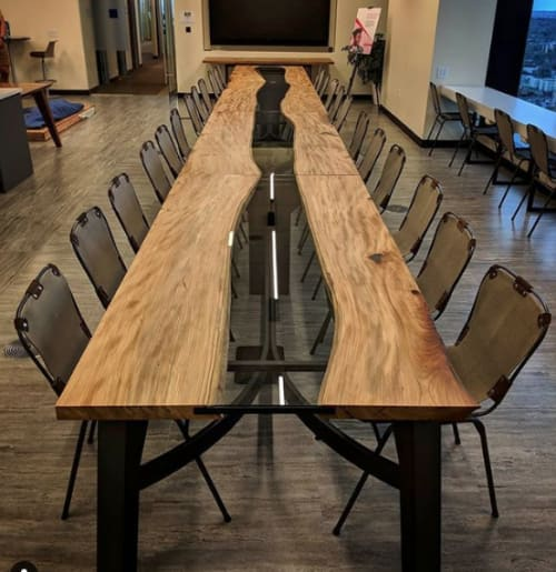 Tables by Where Wood Meets Steel seen at McKinsey & Company, Denver - 30' Elm River Conference Table