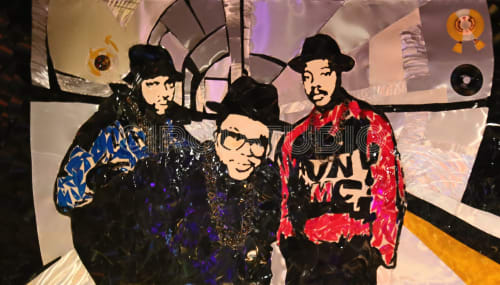 Paintings by Irol Studio seen at The Underground, Charlotte - Run DMC Vinyl and Aluminum