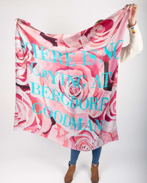 Apparel & Accessories by Ashley Longshore seen at Bergdorf Goodman, New York - No Crying at Bergdorf Goodman Silk Scarf