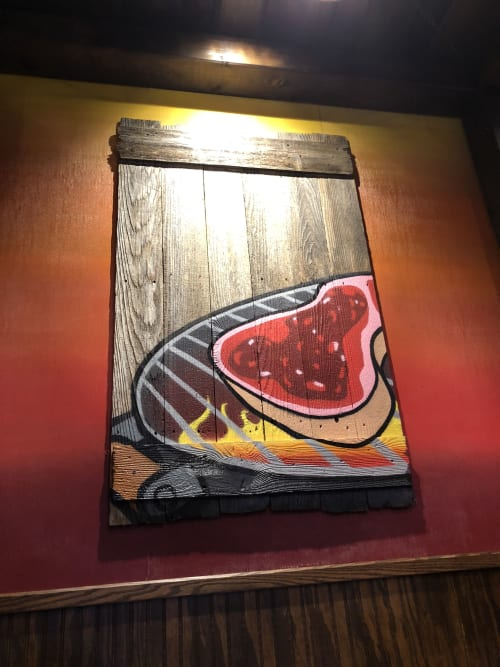 Murals by yolocone seen at 6312 S Harlem Ave, Summit - Thirsty Pig BBQ