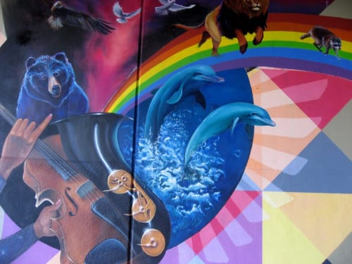 Street Murals by Lindsey Millikan (Milli) seen at 3498 Market St, San Francisco - Super Heroes Mural #2