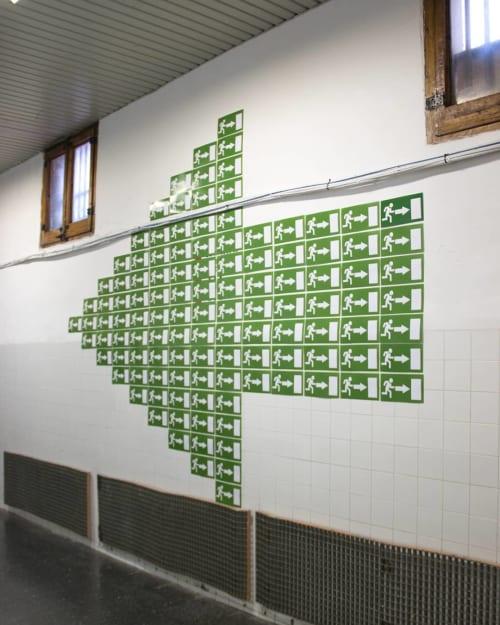 Murals by Octavi Serra seen at La Model, Barcelona - LA FLETXA ( THE ARROW)