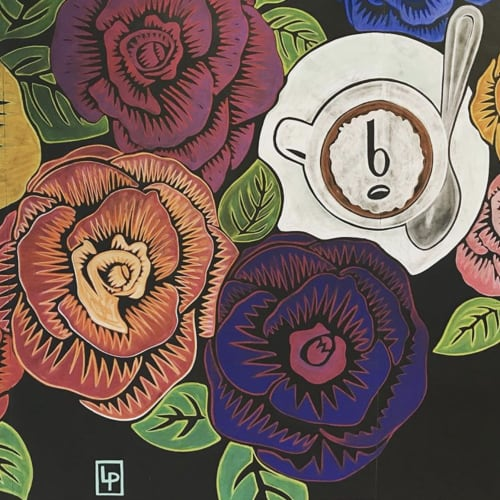 Murals by Leslie Phelan Mural Art + Design seen at b espresso bar, Toronto - Royal Roses
