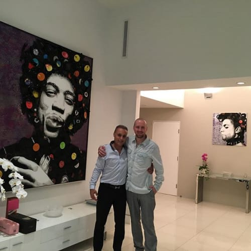 Art & Wall Decor by Riley Art seen at Private Residence, Beverly Hills - Jimi Hendrix 5'x6'