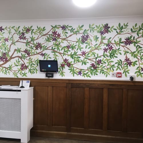 Murals by Joanna Perry Mural Artist UK seen at Jackman's Lodge, Woking - Floral Mural
