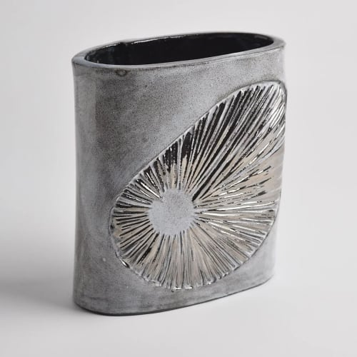 Sculptures by Anne Barrell Ceramics seen at Private Residence, Eastbourne - Platinum Shell Range Vessel