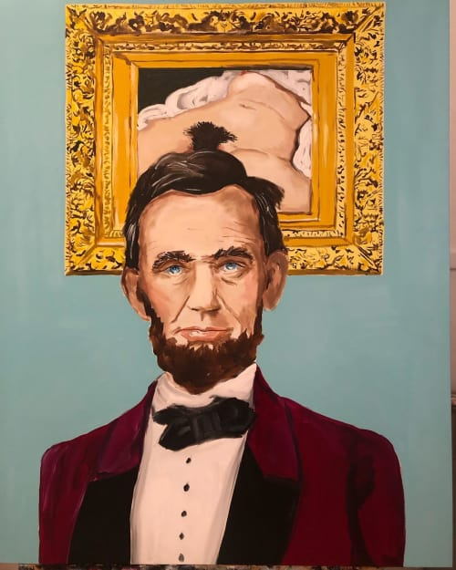 Paintings by Ashley Longshore seen at Ashley Longshore Studio Gallery, New Orleans - Lincoln with Man Bun