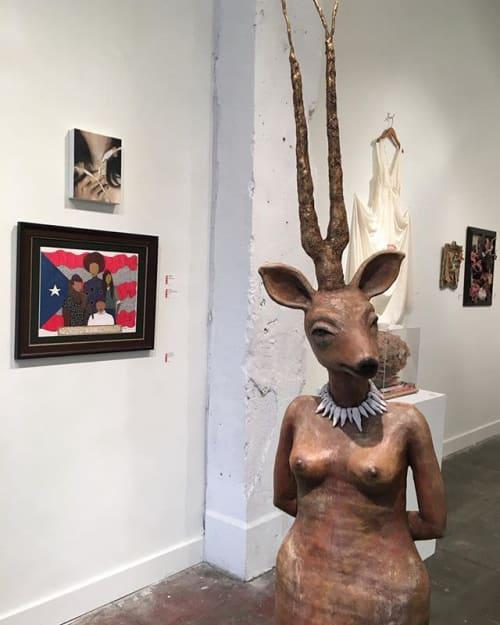 Paintings by ST Rivera seen at Sassafras, Seattle - Machismo Es Fascismo