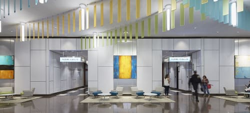 Public Art by ERIN ASHLEY seen at 101 N Tryon St, Charlotte - Front lobby building/Five Custom Paintings displayed.