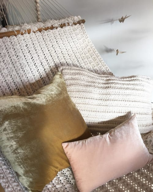 Pillows by Edie Ure Designer and Botanical Dyer seen at Hygge Life, Avon - Plant Dyed Pillows