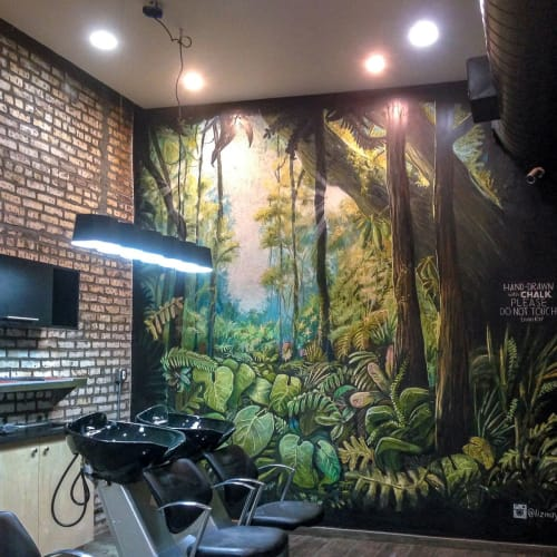 Murals by Liz Maycox seen at Fox and Jane Salon, Brooklyn - Fox and Jane Forest Mural