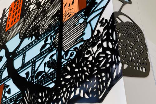 """Public Sculptures by Priscila De Carvalho seen at P.S. 96 Richard Rodgers, Bronx - """"Urban Nature"""""""