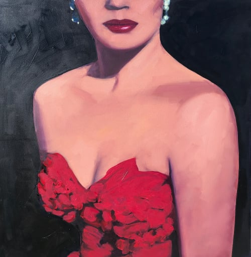 """Paintings by T.S. Harris aka Tracey Sylvester Harris seen at Private Residence, Shaker Heights - Black Tie Optional, 20""""x20"""" original oil painting"""
