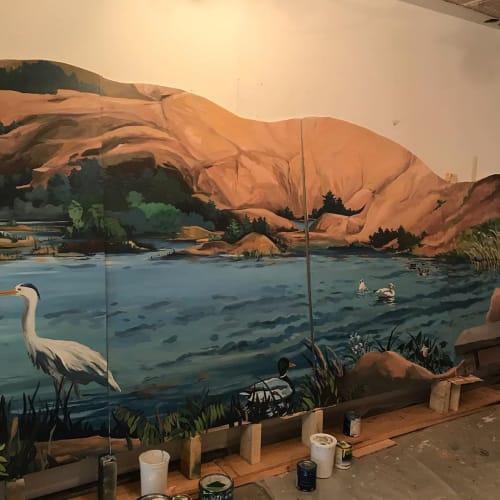 Murals by David Hurley and Peter Walls seen at PENOBSCOT Community Health Center, Bangor - Mural